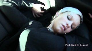 Pierced blonde amateur fucks in public
