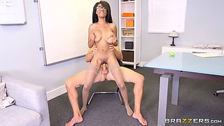 brittney white in glasses and stockings rides huge white dong