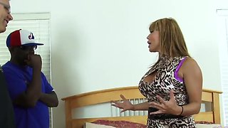 Fake-titted Ava Devine playing with two throbbing cum guns
