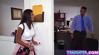 brunette hottie banged in office