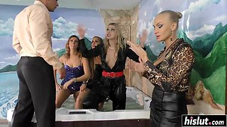 Fancy pool gangbang with hot ladies