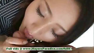 Risa innocent asian girl gives a cute blowjob to her guy