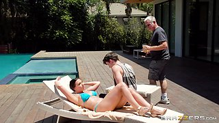 Very dirty wife Rachel Starr cheats on her husband by the pool