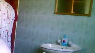 Hidden cam in the bathroom catches my flatmate naked