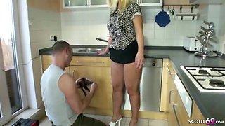 German wife seduce the repairman to fuck her asshole