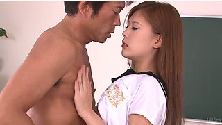 Mesmerizing fresh faced Yura Kasumi gives steamy blowjob to kinky professor