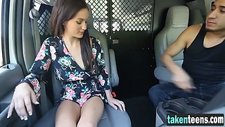 A cute girl is picked up and abused by a truck driver