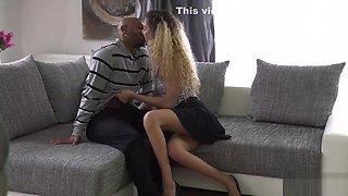 BLACK4K. White peach needs a job so spreads her slender legs for BBC