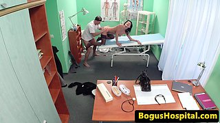 Stunning patient in stockings fucked by doc