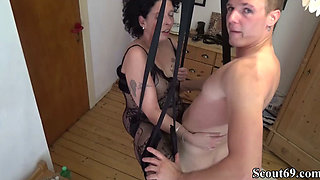 German Step-Son Fuck Mother with Stockings in Love Swing