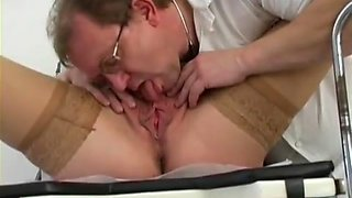 Pregnant girl gets scoped pissed and ass-fucked by her doctor