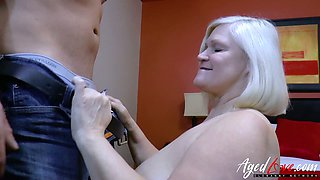 Dirty chubby mature blond head Lacey Starr gets fucked missionary hard