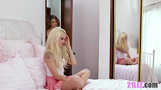 Sexy young blonde catches her GF spying on their ebony roommate