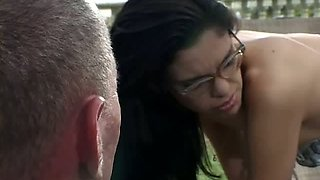 Four eyed skank Eva Lux gives hot blowjob to her lover