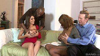 Raylene and Tori Taylor have a blast during an interracial foursome