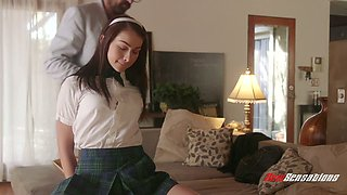 Charming college babe Jennifer Jacobs gets her ass spanked by horny teacher