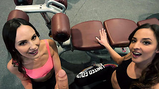 Amazing threesome in the gym POV