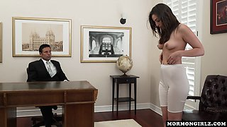 Very cute teen wants to satisfy her doctor and gives him a head at first but then spreads her legs for him