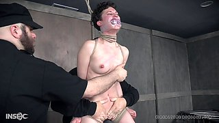 Short haired brunette slave girl Bonnie Day abused and humiliated