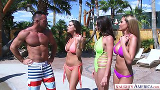 Handsome tanned guy Johnny Castle fucks three appetizing chicks
