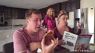 Well built inked blonde Sarah Jessie pounded and gets cum in kitchen