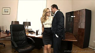 Horny secretary craves for a big load of stiff monster cock