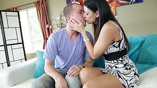 Raven haired babe and horny mommy India Summer fuck one man