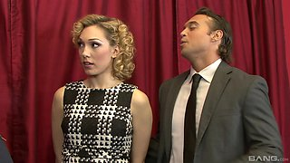 Elegant blonde Lily Labeau bends over for a stiff dick