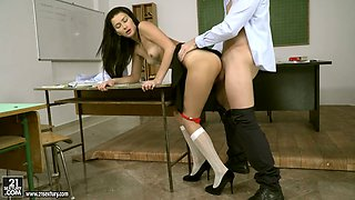 Ardent Slavic chick Alexi Star is so into riding and blowing fat cock