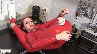 Latex flexibe redhead girl