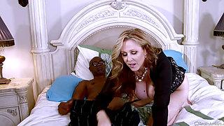 Julia Ann enjoys Sean Michaels' big black cock