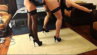 Kinky guy in lingerie and high heels gets nailed from behind