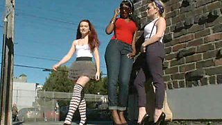 Hot Lesbian Babes Having Fun In BDSM Interracial Foursome