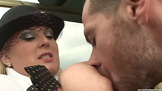Kirsten Halborg likes two guys fuck her outdoors together