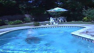 Lusty brunette sucks hunk's cock in the pool