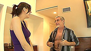 Babysitter Sadie Holmes seduced and fucked by her boss!