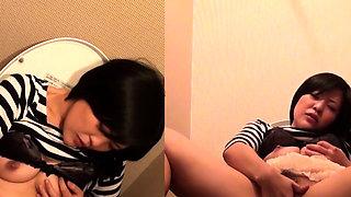 Asian rubs box on toilet