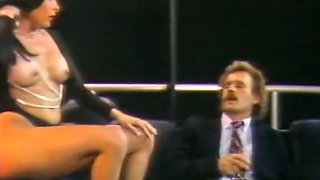 Mesmerizing andlean brunette blows dick of a white guy