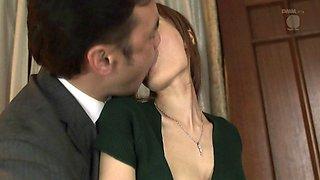 A slutty Japanese housewife fucks her husband's boss