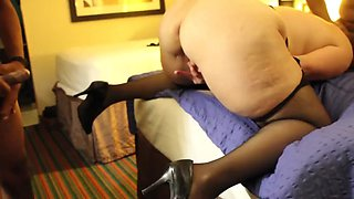 Cuckold wife in hotel with black cocks husband films
