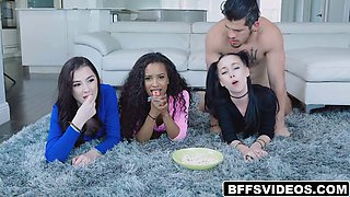 stepbro having some fucking fun with three pussies and mouths
