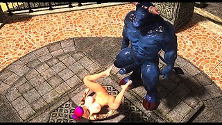 3D Girl Demolished by Monstrous Minothaur!
