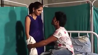 Shruti bhabhi Hot doctor romance with patient boy in blue saree