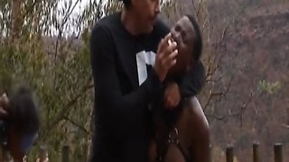 Black whore gets roughly tied up and abused when she got caught while trespassing in an African village