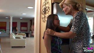 Lesbian milf fingers teen babes in taboo trio