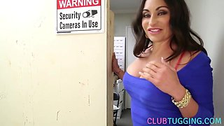 Glam milf jerking off cock in gloryhole