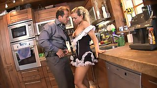 Sexy Maid Fucks the Boss in the Kitchen!