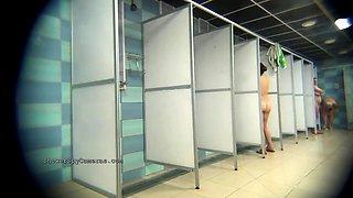 Voyeur finds Russian ladies taking a shower on hidden cam