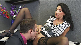 Whorish office brunette slut Lezley Zen gives Chad White a solid blowjob