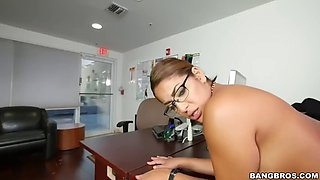 mia martinez goes down on her boss and fucks him in the office